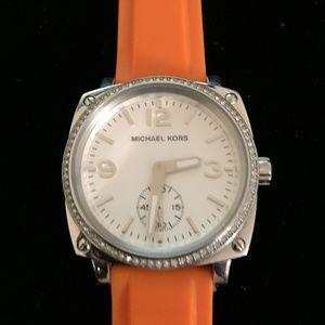 Michael Kors Orange Silicone Strap Watch